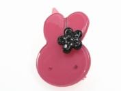 Glitz4Girlz Bunny Resin Hair Clip - Dark Pink