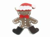 Glitz4Girlz Charcoal Santa Gingerbread Man Hair Clip