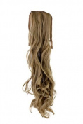 Hairpiece PONYTAIL (comb & ribbon wrap-around system) extension pigtail very long (60cm ) slightly CURLED wavy DARK BLOND ash ashblond YZF-1094HT-16