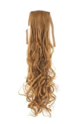 Hairpiece PONYTAIL (comb & ribbon wrap-around system) extension pigtail very long (60cm ) slightly CURLED wavy DARK BLOND slight touch of redblond copper YZF-1094HT-27