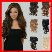 22'' Premium Quality Natural Looking BLACK BROWN Full Head Clip In Extensions SEMI CURL WAVE 55cm Washable Hair Straightner Safe* Like Human Hair