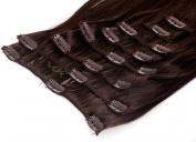 Clip In Hair Extensions 20 inch 50 cm hair length - 8 braids set - Colour #4 brown - 100% high quality kanekalon