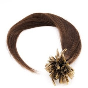 """100S 100 STRANDS Pre Bonded Nail U Tip 100 % Remy Human Straight Hair Extensions BROWN #4 18 inch 18"""" 18 in 45 cm"""