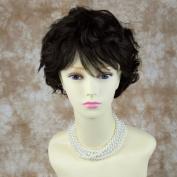 100% Real Human Hair Dark Off Black Short Perfect Wavy Full Ladies Wig Wiwigs UK