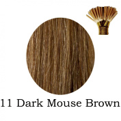 20'' Pre-Bonded Stick Tip Indian Remy Grade A 0.9g #11 Dark Mousey Brown