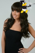 Premium Quality BLACK BROWN Semi Curl Wave Long Wig Like Human Hair *Hair Saightener Safe / Washable 100% Synthetic Hair