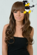 Premium Quality BROWN Semi Curl Wave Long Wig Like Human Hair *Hair Saightener Safe / Washable 100% Synthetic Hair