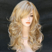 Wonderful Long Wavy Golden strawberry Blonde mix Wig skin top Hair from WIWIGS