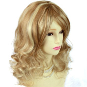 Stunning Heat Resistant Curly Medium Wig Pale Blonde Strawberry Blonde Golden Strawberry Mix Lady Wigs WIWIGS UK