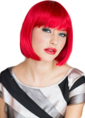 Annabelle's Wigs Striking, Bright Red Straight Cut Bob Wig : Maisy 200g