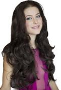 3/4 Wig Hairpiece Extension, Reddish-Dark Brown, Wavy