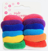 Assorted Pack of 12 Hair Ponios Bands Accessories - Pink Purple Blue Yellow Orange Red Green Colour