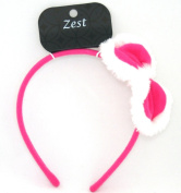 Hot Pink Fluffy Bow Alice Band Hair Accessories by Zest