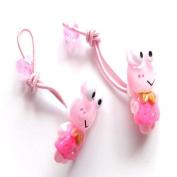 2 Girls Pink Frog Hair Bobbles/Bands IN9918