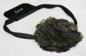 Black Headband with Gold Sparkly Dots Flower Hair Accessories by Zest