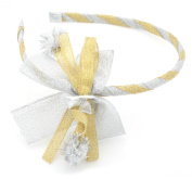 Christmas Gold & Silver Ribbon Bow Alice Band Hair Accessories by Zest