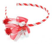 Christmas Red & Silver Ribbon Bow Alice Band Hair Accessories by Zest