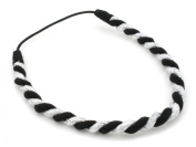 Silver Lurex & Black Chunky Twist Head Band Hair Accessories by Zest