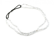 Metallic Silver Double Strand Beaded Headband Hair Accessories by Zest