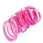 20 Pink & Silver Thread Hair Elastics/Bands IN6358