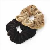 2 Brown & Beige Velvet Hair Scrunchies AJ25636