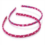 2 Hot Pink Heart & Flower Slim Alice Bands AJ25799