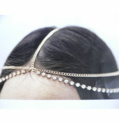 WIIPU Fashion Jewellery Hair Accessory Goldtone Head Chain Accented With Rhinestones Crystal Head Chain Hair Band