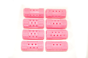 Set of 8 pink snap on hair rollers. X large size - 28mm in diameter.