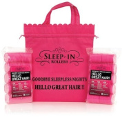 Sleep-In Rollers Hair Styling Rollers with Drawstring Bag Pack of 20 Pink