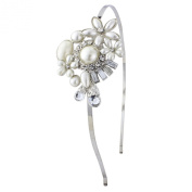 Vintage bling pearl hairband with gorgeous flower theme, adjustable size