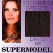 Supermodel Clip In Human Hair Extensions 18 -inch Colour 32 Deep Auburn