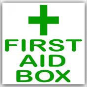 6 x First Aid Box-Green on White,External Self Adhesive Stickers-Medical,Health and Safety Signs