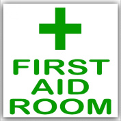 6 x First Aid Room-Green on White,External Self Adhesive Stickers-Medical,Health and Safety Signs
