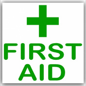 6 x First Aid-Green on White,External Self Adhesive Stickers-Medical,Health and Safety Signs