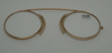 Modern Pince Nez Reading glasses /Spectacles Gold colour +2.00 with pouch