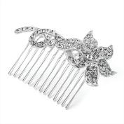 Medium Bridal Silver Clear Crystal Diamante Stem Flower Hair Comb Accessory W7.5 x H5.5 x D1 cm Silver