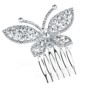 Silver Crystal Butterfly Hair Comb AJ26674