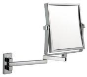Luxury square extending shaving/makeup mirror - chrome