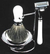 Artemis White MACH 3 Shaving Gift Set - Razor, Badger Hair Brush & Bowl on Stand - SHV04