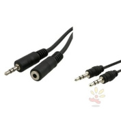 Everydaysource 7.6m Black 3.5mm Stereo Plug to Jack Extension Cable M/F Free With Retractable 3.5mm M/M Audio Cable Black as a gift!