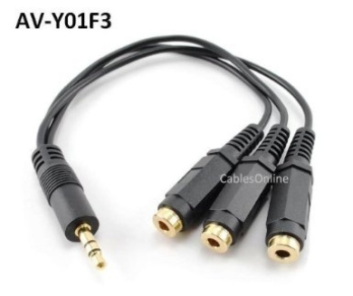 "CablesOnline 3.5mm (1/8"") TRS Male Plug to 3x Female Stereo Audio Splitter, (AV-Y01F3)"