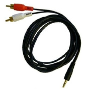 STEREO MINI 3.5MM TO DUAL RCA AUDIO CABLE / MINI 3.5MM TO TWO RCA PLUG 1.8m