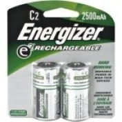 Energizer C Cell Rechargeable NiMH Battery Retail Pack, 2500mAh - 2 Pack