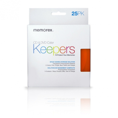 Memorex CD/DVD Keepers, 25-Pack, Assorted Colours