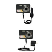 Gomadic Car and Wall Charger Essential Kit for the Kodak V1073 - Includes both AC Wall and DC Car Charging Options with TipExchange