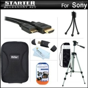 Starter Accessories Kit For Sony Cyber-Shot DSC-WX9, DSC-WX50, DSC-WX70, DSC-WX150 Digital Camera Includes Hard Case + 130cm Tripod With Case + Mini HDMI Cable + USB 2.0 Card Reader + LCD Screen Protectors + Mini TableTop Tripod + MicroFiber Cleaning C ..