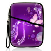 Neoprene Super Padded Bubble Sleeve Case Cover with Extra Pocket for Accessories & Removable Carrying Handle Fits Apple iPad Mini / Amazon Kindle Fire HD / Google Nexus 7 / for Samsung Galaxy / Asus / Acer / Archos and Similar Size 18cm Tablet - Purple Bu