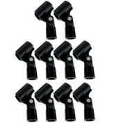 """GLS Audio Mic Clip - Heavy Duty Microphone Clips - """"U"""" Style Mike Clip - Fits all standard size Mics - 10 PACK"""