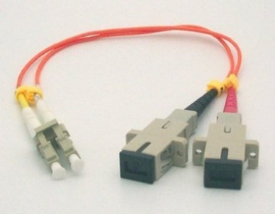 0.3m LC Male SC Female Duplex Multimode 62.5/125 Fibre Optic Adapter Cable