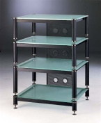 4-Shelf Audio Rack/Amp Stand in Black with Frosted Glass Shelves